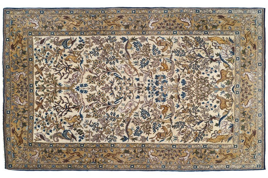 SILK AND WOOL QUM NORTHCENTRAL PERSIAN HUNTING RUG