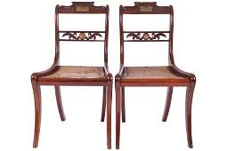 PAIR OF REGENCY PERIOD MAHOGANY AND BRASS INLAID DINING