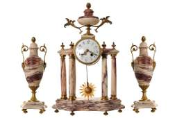 NINETEENTHCENTURY FRENCH BRASS AND MARBLE CLOCK