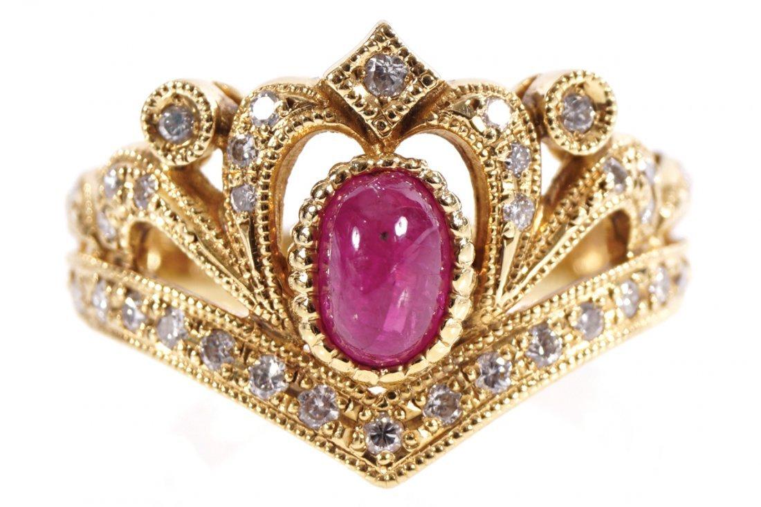 18 CT. YELLOW GOLD MOUNTED RING
