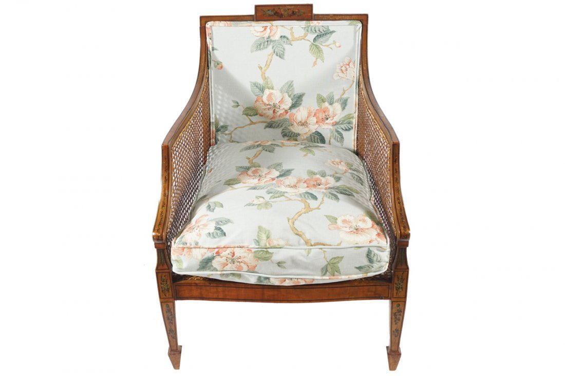PAIR OF EDWARDIAN SATINWOOD AND PAINTED BERGERE CHAIRS