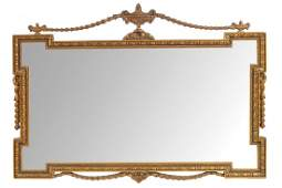 EDWARDIAN ADAM STYLE GILT FRAMED OVER MANTLE MIRROR