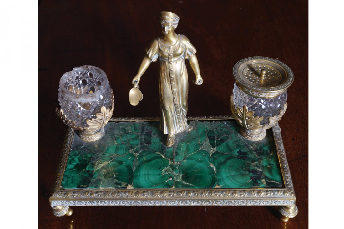 FRENCH EMPIRE THREE PIECE DESK ORMOLU AND MALACHITE