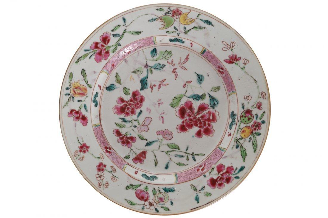 EIGHTEENTH-CENTURY FAMILLE ROSE PLATE
