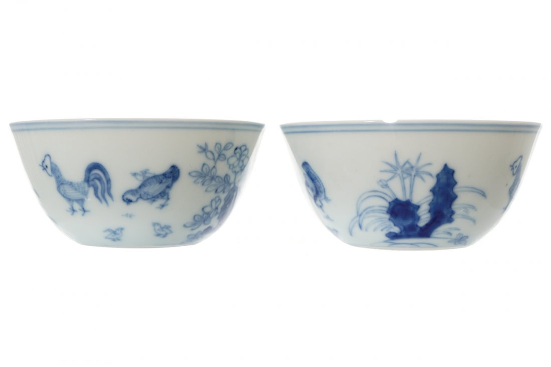PAIR OF CHINESE BLUE AND WHITE CHICKEN CUPS
