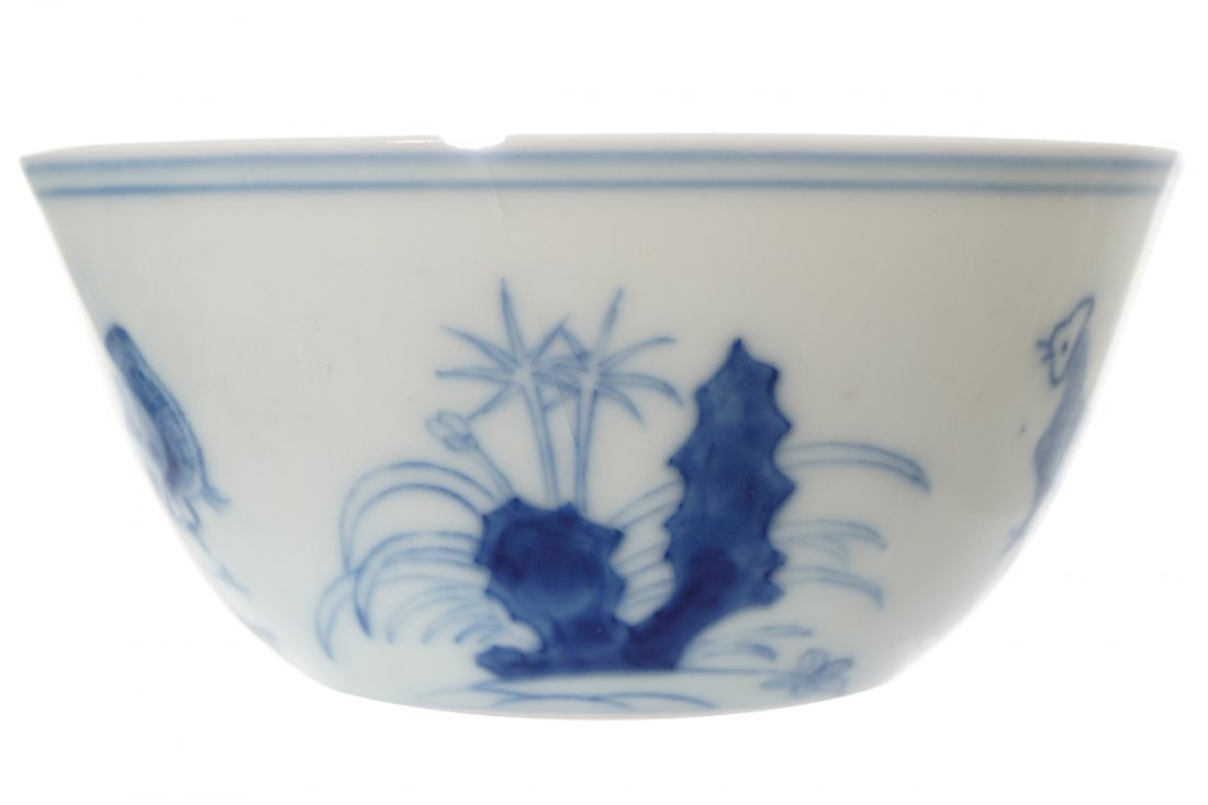 PAIR OF CHINESE BLUE AND WHITE CHICKEN CUPS - 2
