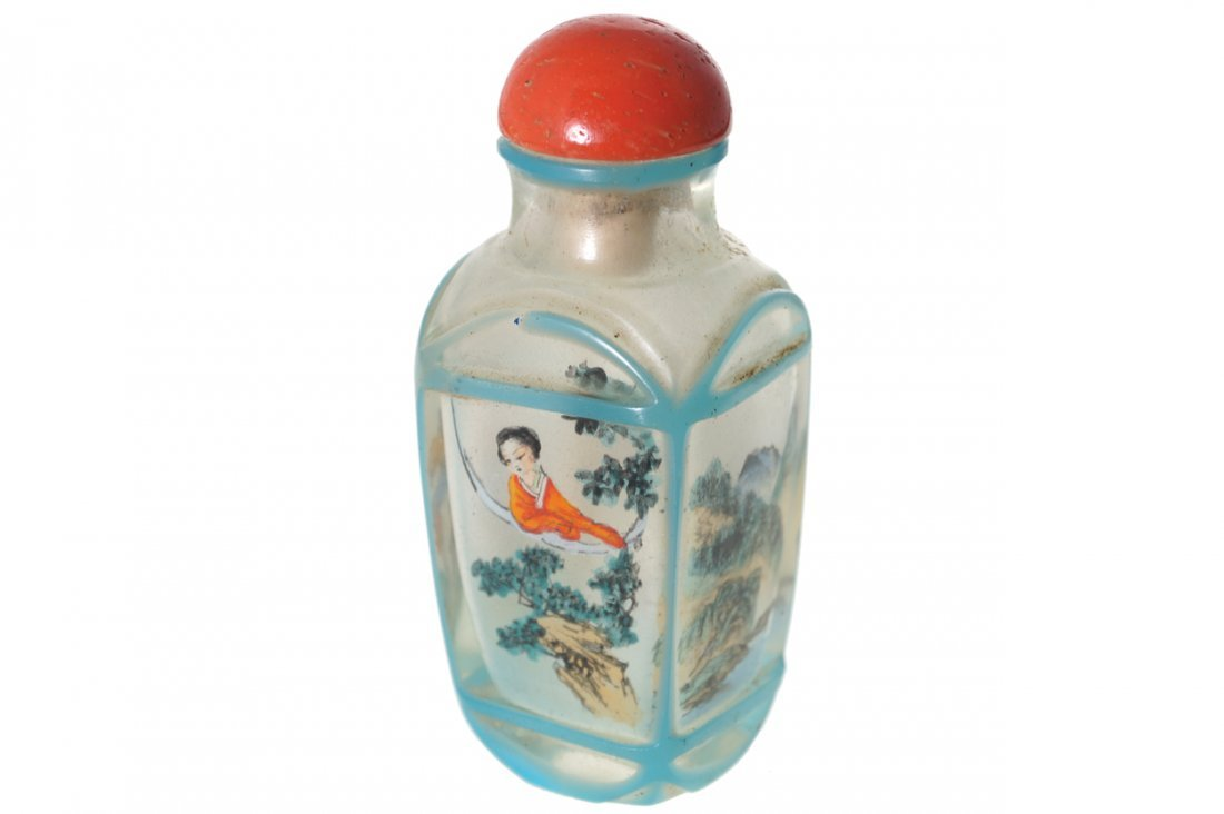 CHINESE QING PERIOD GLASS AND INSIDE PAINTED SNUFF