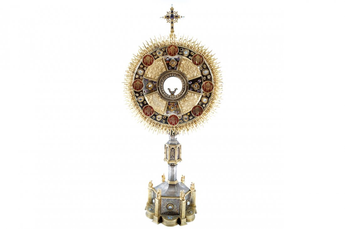 NINETEENTH-CENTURY SILVER AND ORMOLU MONSTRANCE