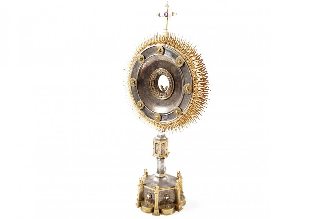 NINETEENTH-CENTURY SILVER AND ORMOLU MONSTRANCE - 4