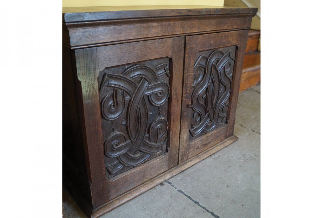 EDWARDIAN IRISH ARTS AND CRAFTS OAK SIDE CABINET
