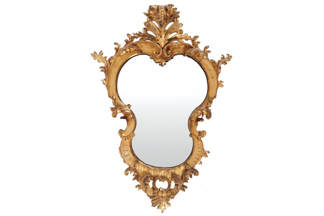 PAIR OF NINETEENTH-CENTURY CARVED GILTWOOD MIRRORS,