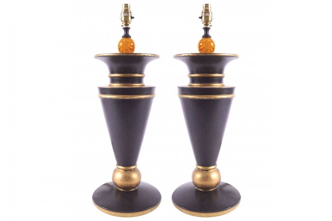 PAIR OF DESIGNER EBONY AND PARCEL GILT TABLE LAMPS AND