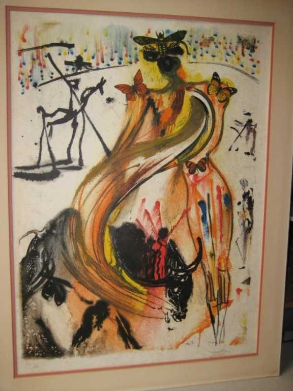 "170: ""Butterfly Bullfighter"" by Dali - Signed"