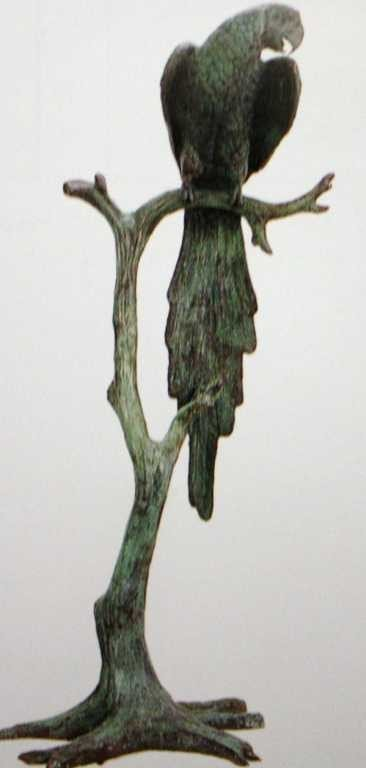 """512A: """"Parrot on Tree"""" Bronze Sculpture by Moigniez"""