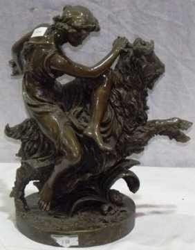 """514: """"WOMAN AND RAM"""" Bronze Sculpture"""