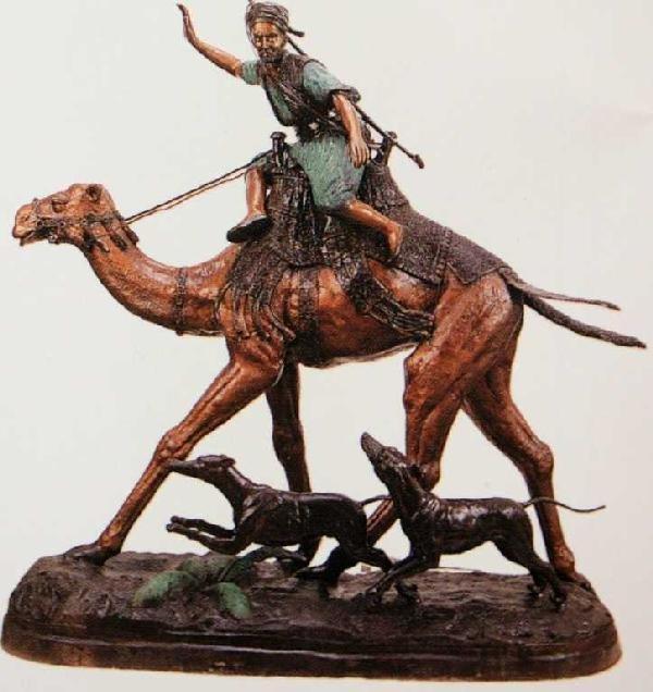 "518A: ""Arab On Camel"" Bronze Sculpture by Mene"