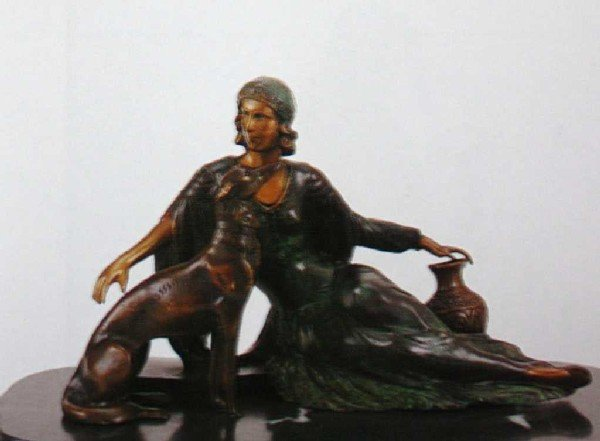 """521A: """"Nouveau Candeladurm"""" Bronze Sculpture by Chiparu"""