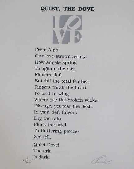 """523: """"Quiet the Dove"""" Hand Signed Poem by R. Indiana"""