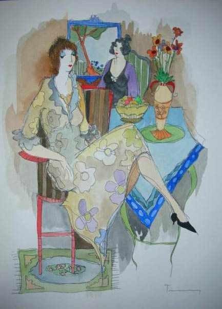 598: Original Watercolor by Tarkay (untitled)