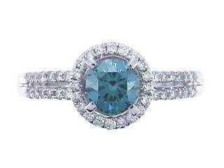 812: 14KW BLUE DIAMOND RING