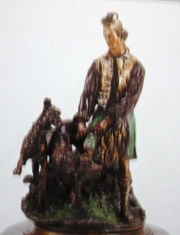"901A: ""Scottish Hunter With Hounds"" Bronze Sculpture by"