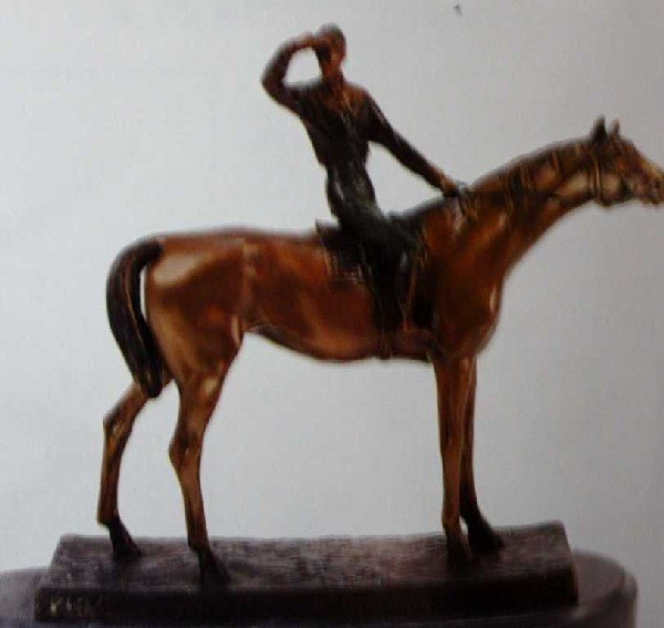 "902A: ""Jockey"" Bronze Sculpture by Moigniez"