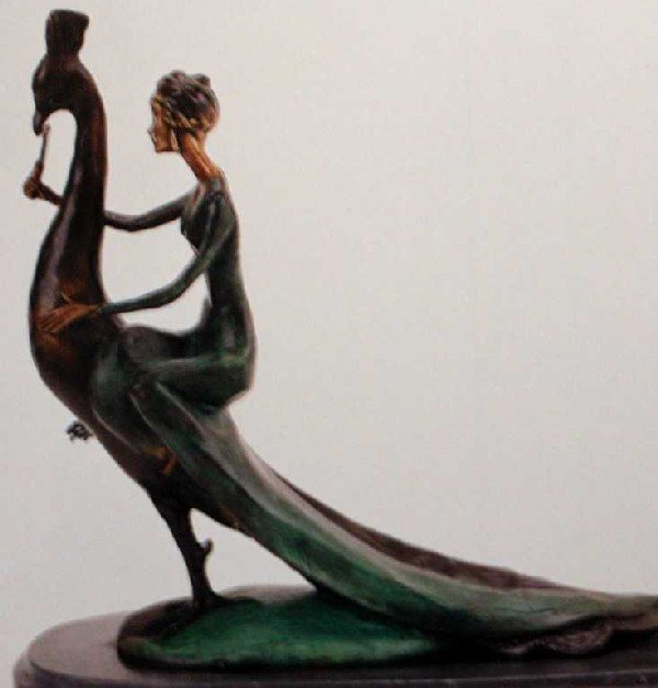 "907A: ""Woman on Peacock"" Bronze Sculpture by Chiparus"