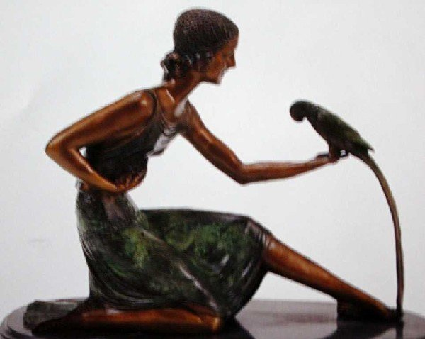 "908A: ""Woman With Parrot"" Bronze Sculpture by Chiparus"