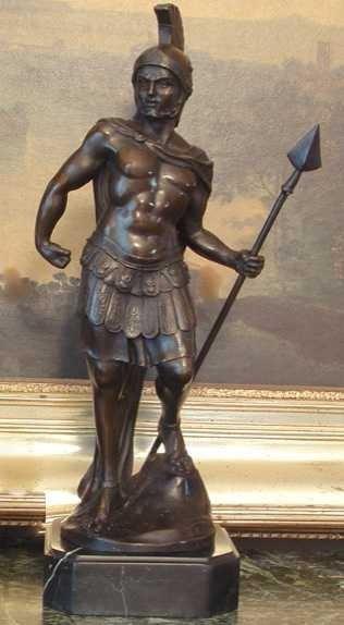 1149: SPARTACUS GREEK WARRIOR BRONZE SCULPTURE