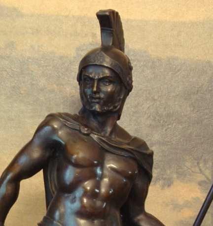 1149: SPARTACUS GREEK WARRIOR BRONZE SCULPTURE - 2