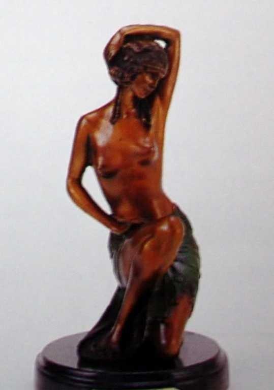 "522A: ""Kneeling Nude"" Bronze Sculpture by Preiss"