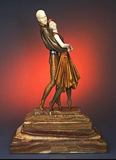 """1318: CHIPARUS - """"TANGO"""" -BRONZE AND IVORY SCULPTURE"""