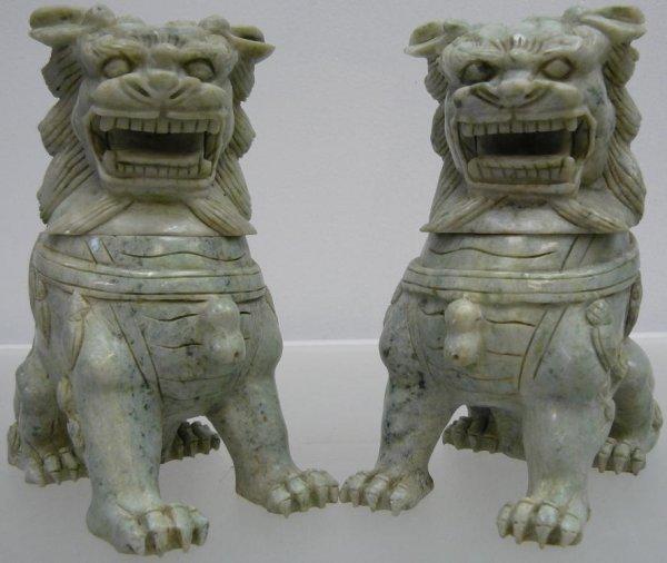 509D: PAIR OF SOLID JADE FOO LIONS