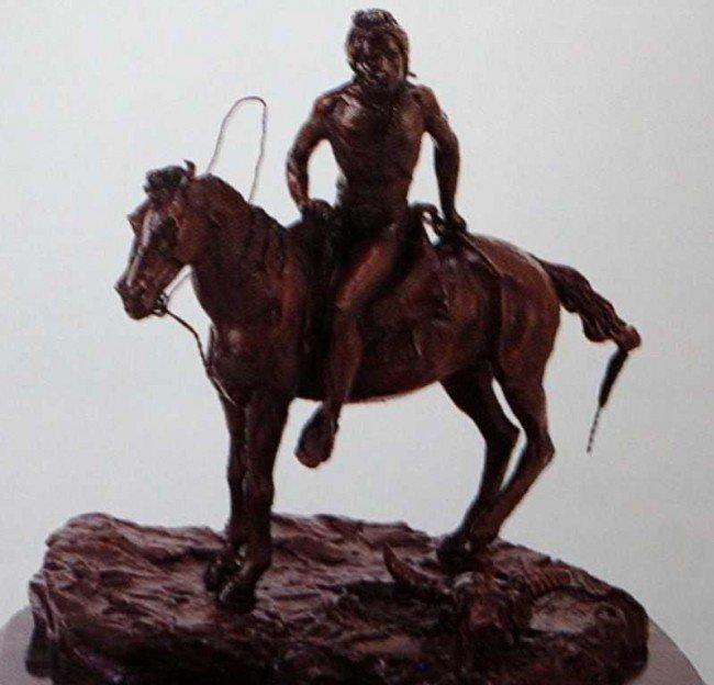 """2102A: """"Vigil"""" Bronze Sculpture by Remington"""