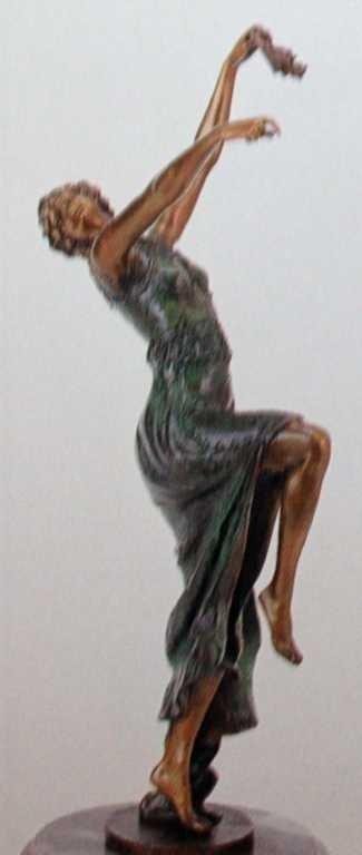 """2113: """"Comedy Tragedy Dancer"""" Bronze Sculpture by Ducha"""