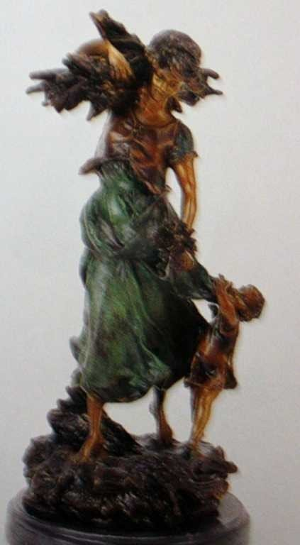 """2116: """"Wood Woman With Child"""" Bronze Sculpture By A. Mo"""