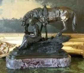 """1006: """"COWBOY TALES"""" Bronze Sculpture"""