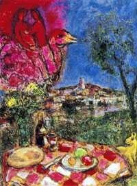 """1008: MARC CHAGALL """"LOVERS & DAISES"""""""