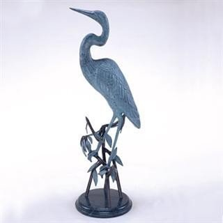 1011: Crane Bronze Sculpture