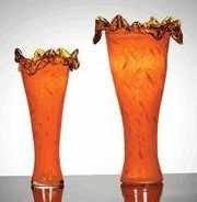 1018: Rare Art Glass 2 pc Vase Set