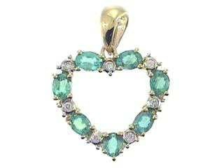 1020: 14K Emerald & Diamond Pendant