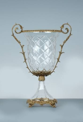 1024: CRYSTAL VASE ACCENTED WITH BRASS