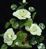 1337: WHITE JADE BONSAI FLOWERS - SCULPTURE