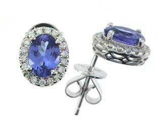 1851: 14kw Tanzanite & Diamond Earrings