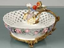 219: PORCELAIN AND BRASS CANDY DISH