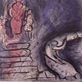 "220: ""AHASUERUS SENDS VASTHI AWAY""  by Marc Chagall"