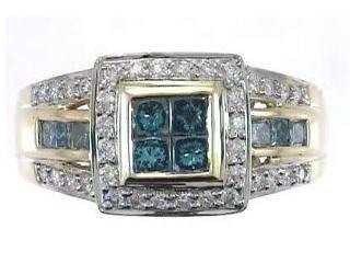 221: 14KW BLUE DIAMOND RING