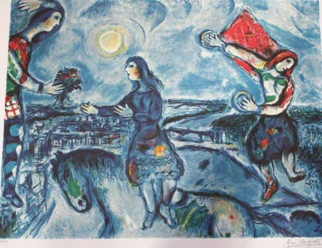 """315: CHAGALL """"LOVERS OVER PARIS"""" - LIMITED EDITION"""