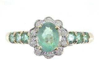 1203: 14kw Emerald & Diamond Ring