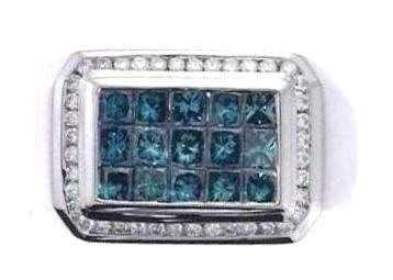 1211: 14KW BLUE DIAMOND RING